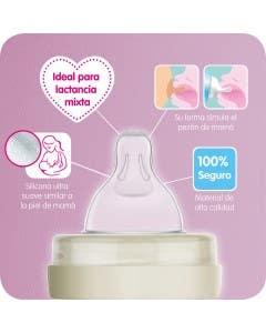 Mamadera 260 ml vidrio crema