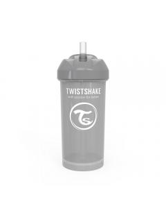Vaso con bombilla Twistshake Straw Cup 360ml gris pastel