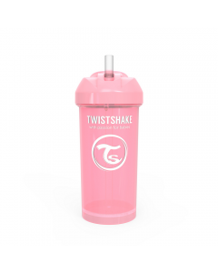 Vaso con bombilla Twistshake Straw Cup 360ml rosado pastel