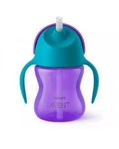 Vaso con bombilla flexible de 200Ml/7Oz Dino Niña