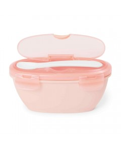 Easy-Serve Travel Bowl & Spoon-Coral
