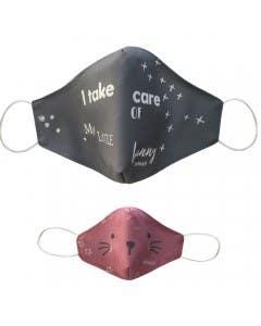 Pack de 2 mascarillas faciales (adulto/infantil) rosado / azul
