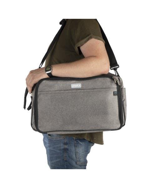 Bolso pañalero cuna desmontable color gris