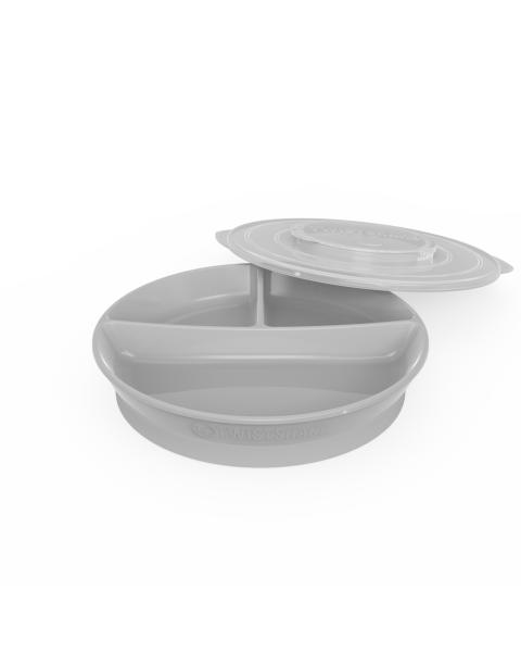Plato Dividido Twistshake 6+m gris pastel