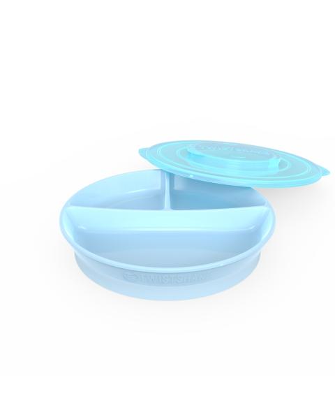 Plato Dividido Twistshake 6+m azul pastel