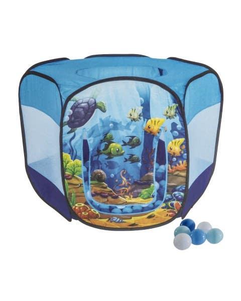 Carpa con pelotas diseño fondo del mar color azul
