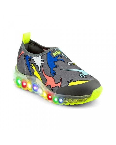 Zapatilla Roller Celebration Con Luces Dino Gris