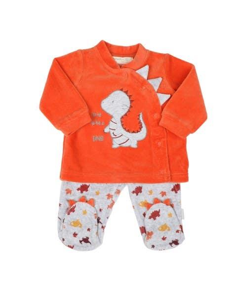 Conjunto bebé dino naranjo
