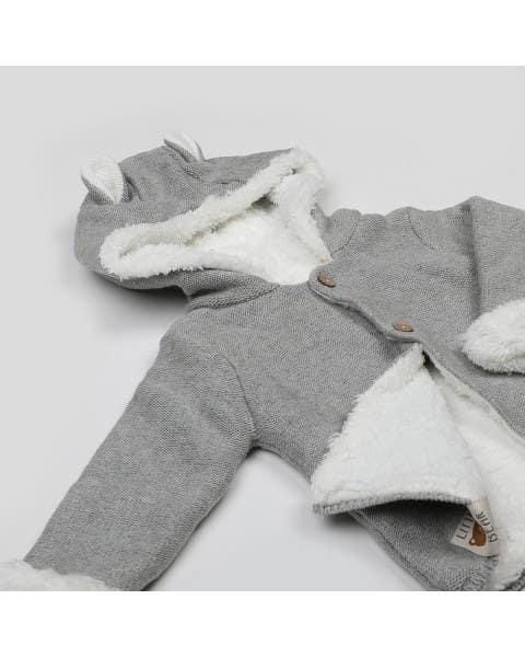 Chaqueta tejida con forro gris