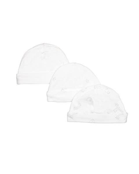 Pack 3 gorros algodón blanco