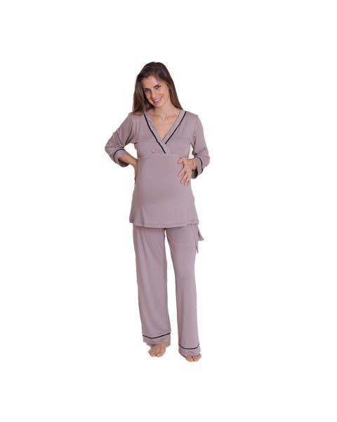 Pijama Kimono Manga Larga Taupe
